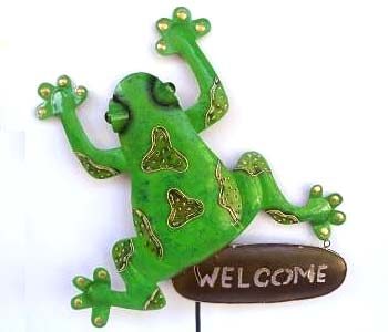 Balinese Wholesale Metal Garden Ornaments Frog Stakes