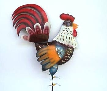 Balinese Wholesale Metal Garden Ornaments Rooster Stakes